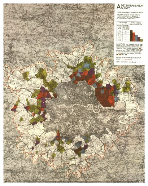GREATER LONDON PLAN. Areas needing decentralisation. ABERCROMBIE 1944 old map