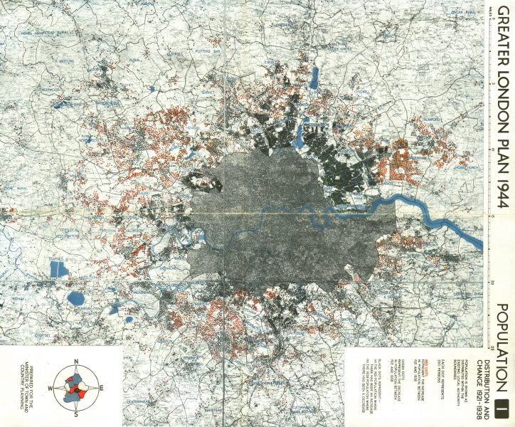 Associate Product GREATER LONDON. Population change up/down 1921-1938. ABERCROMBIE 1944 old map