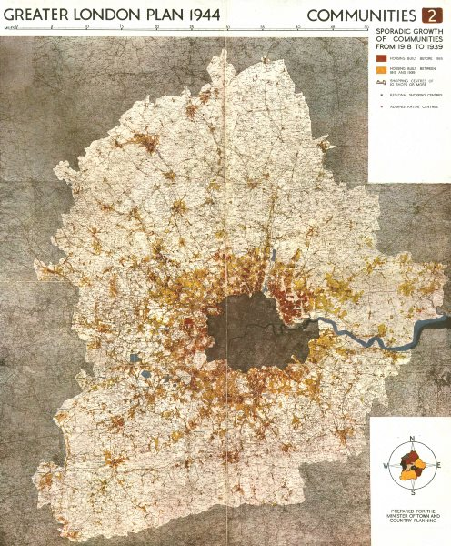 GREATER LONDON. Housing built <1918, 1918-1939. ABERCROMBIE 1944 old map
