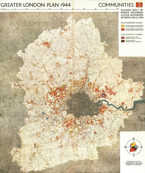 Associate Product GREATER LONDON. Private & public housing built 1918-1939. ABERCROMBIE 1944 map