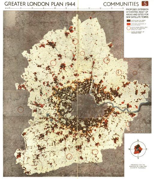 LONDON. Proposed postwar development/new satellite towns. ABERCROMBIE 1944 map