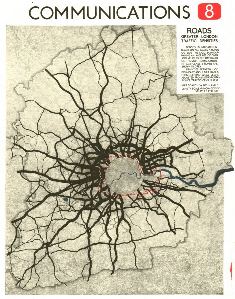 GREATER LONDON. Road traffic densities in 1938. ABERCROMBIE 1944 old map