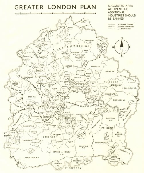 GREATER LONDON. Proposed area to ban additional industry. ABERCROMBIE 1944 map