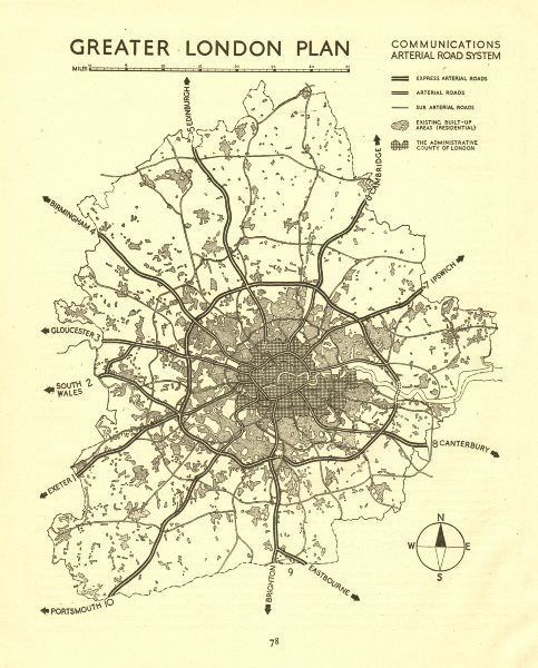 GREATER LONDON. Proposed motorways arterial ring roads M25.ABERCROMBIE 1944 map