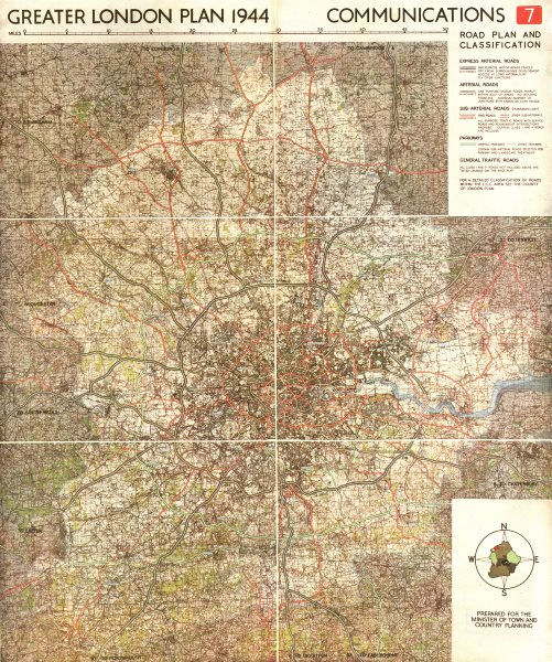 GREATER LONDON PLAN. Motorways arterial ringways roads M25.ABERCROMBIE 1944 map