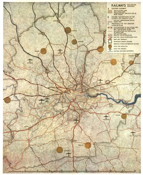 Associate Product GREATER LONDON PLAN. Railways electrification airports. ABERCROMBIE 1944 map