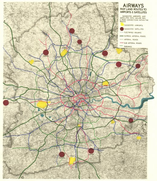 Associate Product GREATER LONDON PLAN. Airports & road/rail connections. ABERCROMBIE 1944 map