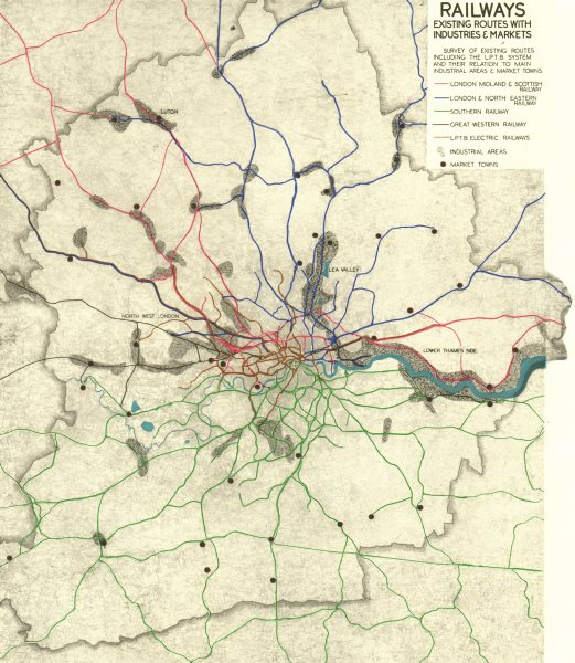 Associate Product GREATER LONDON. Railways routes. Industries Markets.ABERCROMBIE 1944 old map