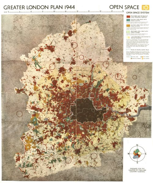 Associate Product GREATER LONDON PLAN. Open Space system. Green belt. Parks. ABERCROMBIE 1944 map
