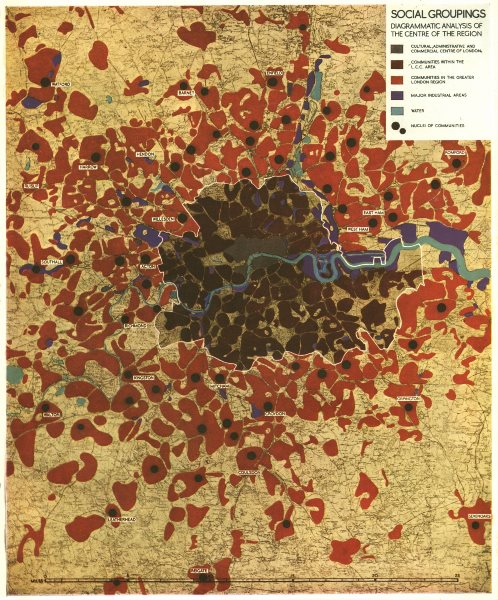 GREATER LONDON PLAN. Diagrammatic analysis of Communities. ABERCROMBIE 1944 map