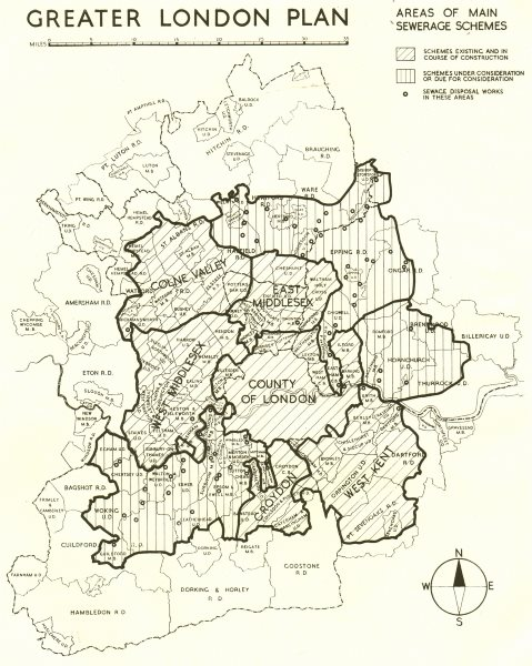 GREATER LONDON PLAN. Areas of main Sewerage schemes. ABERCROMBIE 1944 old map
