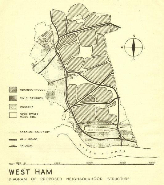 Associate Product WEST HAM. Proposed postwar neighbourhood structure. ABERCROMBIE 1944 old map