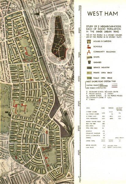Associate Product WEST HAM PLAISTOW UPTON PARK.Planned postwar redevelopment.ABERCROMBIE 1944 map