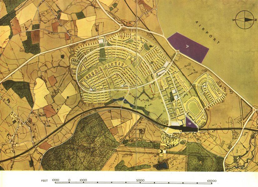 Associate Product HATFIELD. Proposed town extension & airport. London Plan. ABERCROMBIE 1944 map