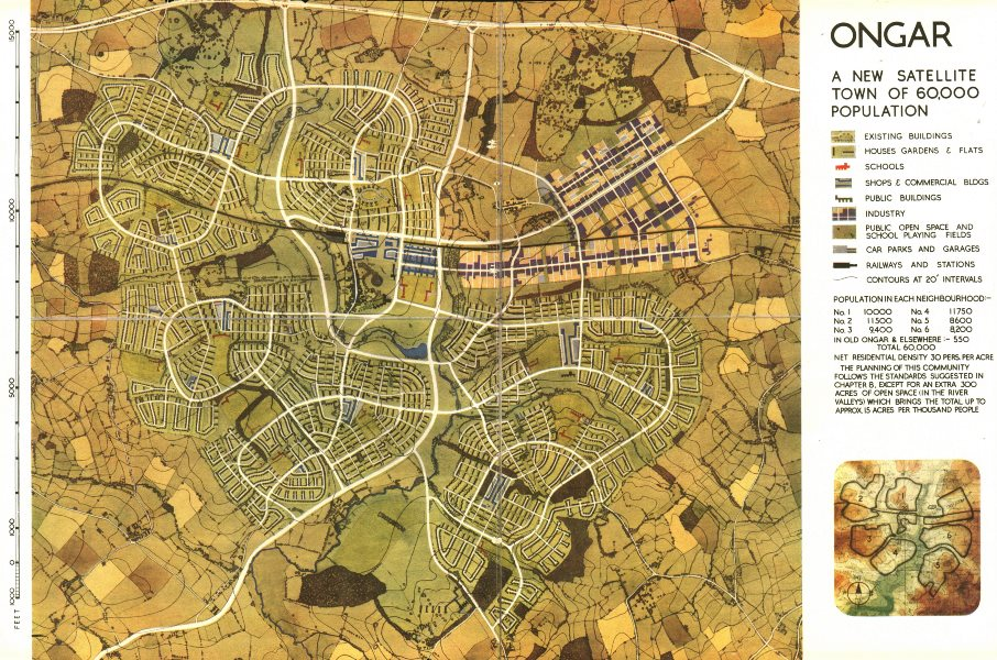 CHIPPING ONGAR. Development proposals. Greater London Plan.ABERCROMBIE 1944 map