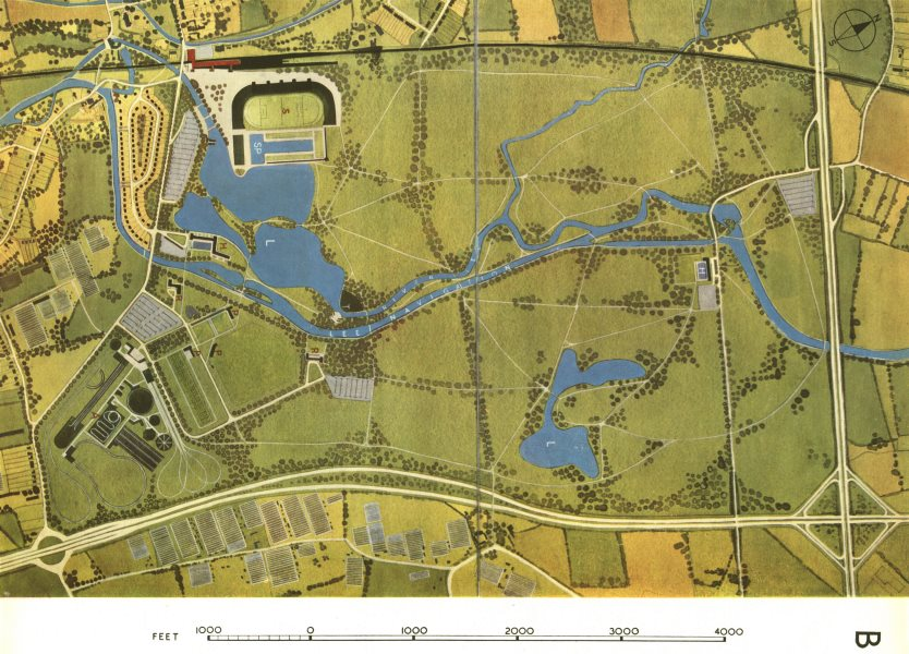 LEE VALLEY. Broxbourne. Planned recreation centre. ABERCROMBIE 1944 old map