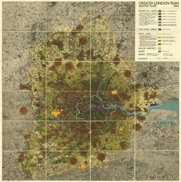 Associate Product GREATER LONDON MASTERPLAN. Population density. Wall map. ABERCROMBIE 1944