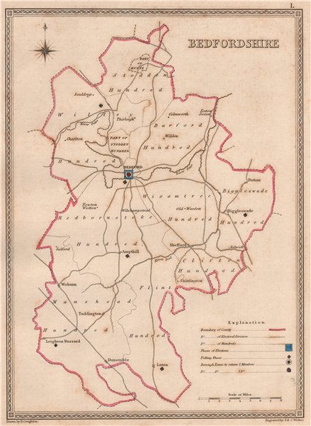 Associate Product BEDFORDSHIRE antique county map by CREIGHTON/WALKER. Electoral 1835 old