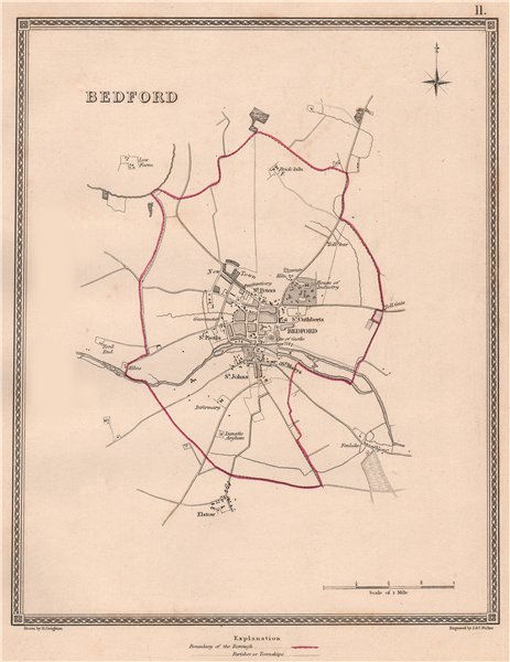 Associate Product BEDFORD town & borough plan. Bedfordshire. CREIGHTON/WALKER 1835 old map