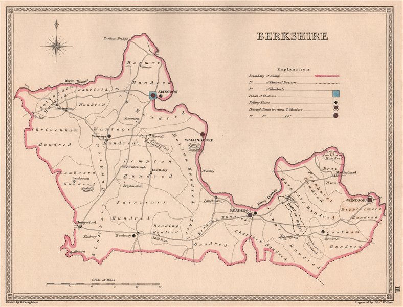 Associate Product BERKSHIRE antique county map by CREIGHTON/WALKER. Electoral 1835 old