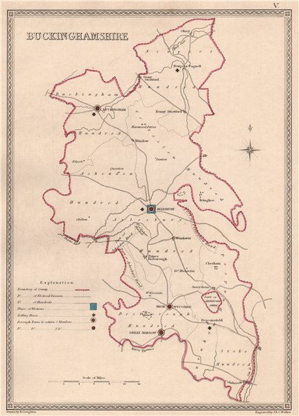 Associate Product BUCKINGHAMSHIRE antique county map by CREIGHTON/WALKER. Electoral 1835 old