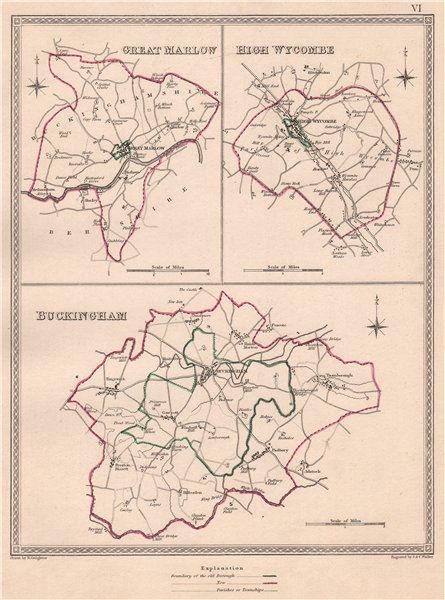 Associate Product BUCKINGHAMSHIRE TOWNS. Marlow High Wycombe Buckingham.CREIGHTON/WALKER 1835 map