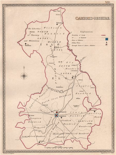 Associate Product CAMBRIDGESHIRE antique county map by CREIGHTON/WALKER. Electoral 1835 old