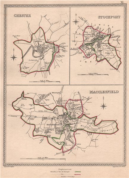 Associate Product CHESHIRE TOWNS. Chester Stockport Macclesfield plans. CREIGHTON/WALKER 1835 map