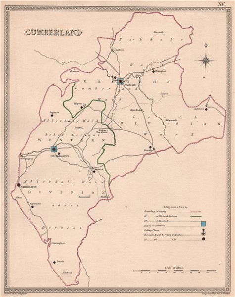 Associate Product CUMBERLAND antique county map by CREIGHTON/WALKER. Cumbria. Electoral 1835
