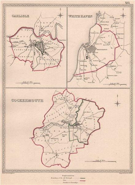 Associate Product CUMBRIA TOWNS. Carlisle White Haven Cockermouth plans.CREIGHTON/WALKER 1835 map