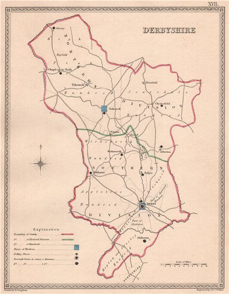 Associate Product DERBYSHIRE antique county map by CREIGHTON/WALKER. Electoral 1835 old