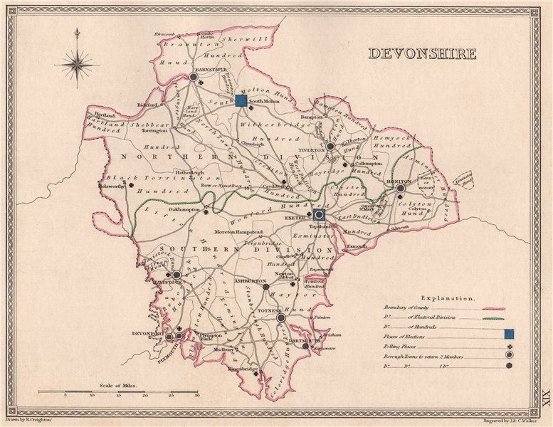 Associate Product DEVONSHIRE antique county map by CREIGHTON/WALKER. Electoral 1835 old