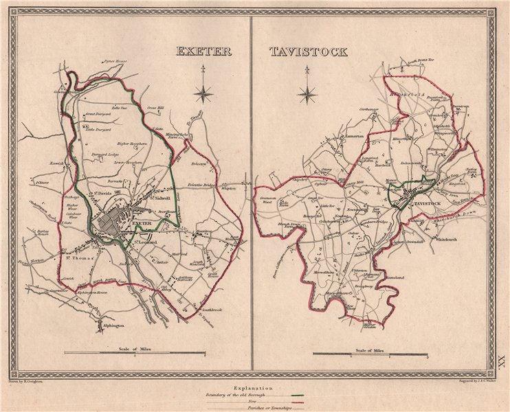 Associate Product DEVON TOWNS. Exeter Tavistock borough plans. CREIGHTON/WALKER 1835 old map