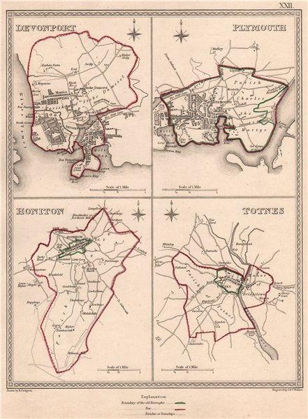 DEVON TOWNS. Devonport Plymouth Honiton Totnes plans. CREIGHTON/WALKER 1835 map