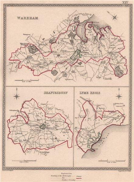 Associate Product DORSET TOWNS. Wareham Shaftesbury Lyme Regis plans. CREIGHTON/WALKER 1835 map