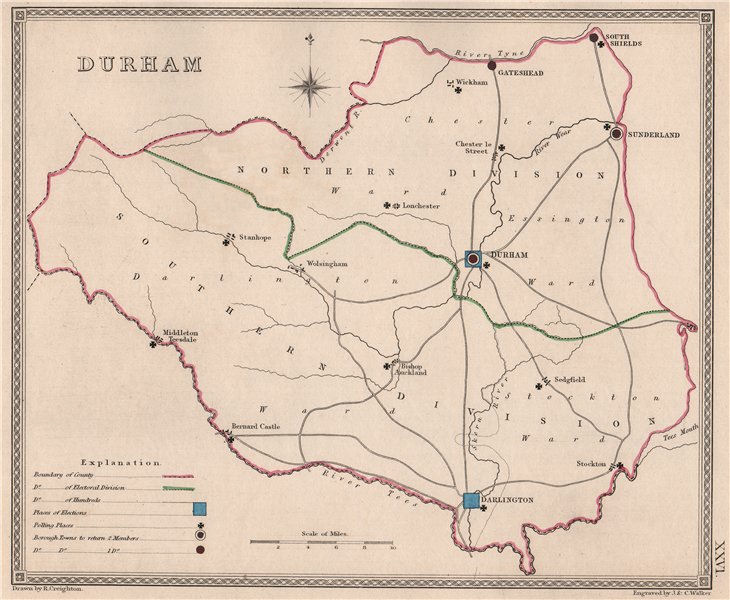 Associate Product COUNTY DURHAM antique county map by CREIGHTON/WALKER. Electoral 1835 old