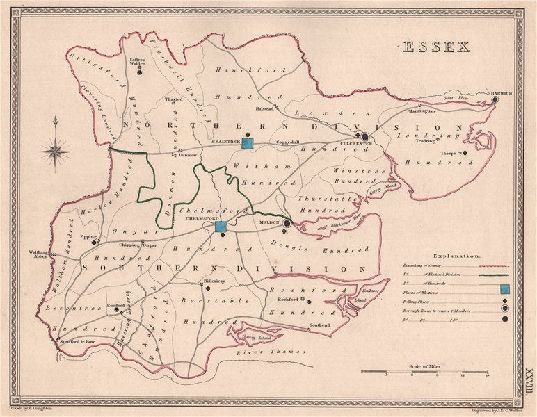 ESSEX antique county map by CREIGHTON/WALKER. Electoral 1835 old