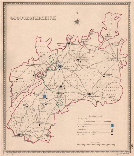 Associate Product GLOUCESTERSHIRE antique county map by CREIGHTON/WALKER. Electoral 1835 old