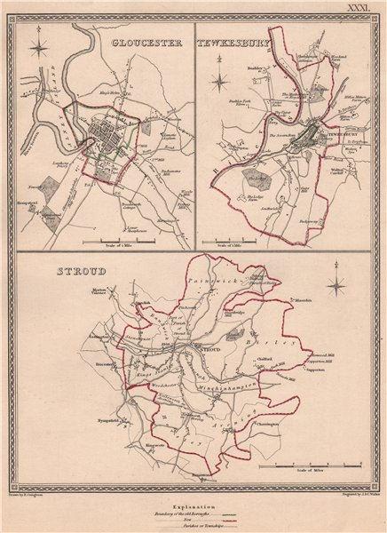 Associate Product GLOUCESTERSHIRE TOWNS. Gloucester Tewkesbury Stroud. CREIGHTON/WALKER 1835 map