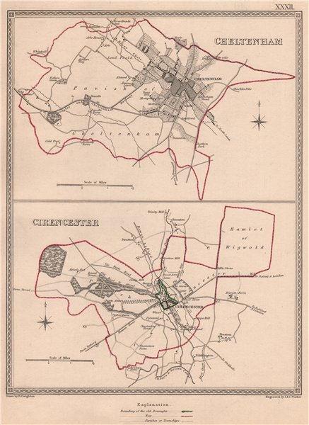 Associate Product GLOUCESTERSHIRE TOWNS. Cheltenham Cirencester plans. CREIGHTON/WALKER 1835 map