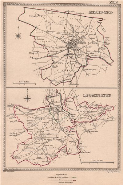 Associate Product HEREFORDSHIRE TOWNS.Hereford Leominster borough plans.CREIGHTON/WALKER 1835 map