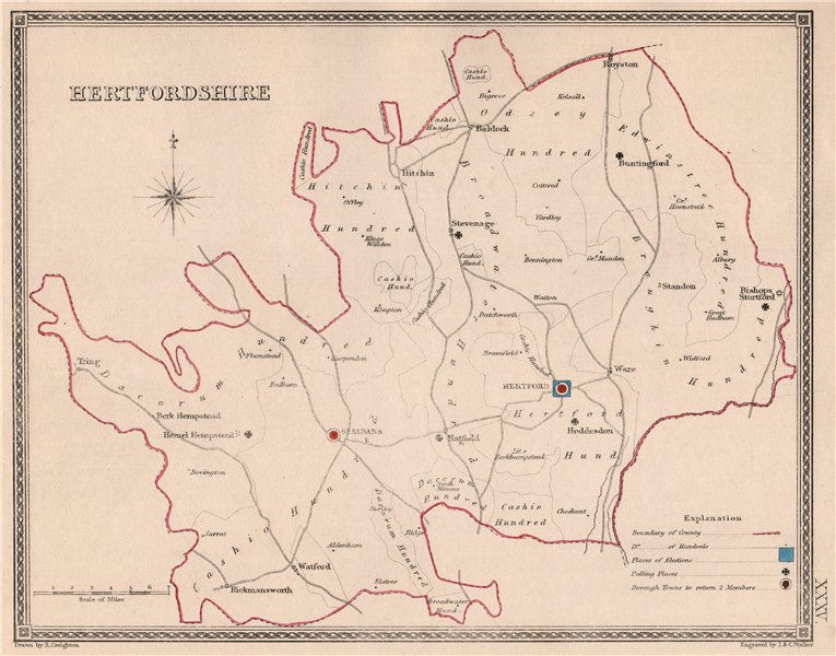 Associate Product HERTFORDSHIRE antique county map by CREIGHTON/WALKER. Electoral 1835 old