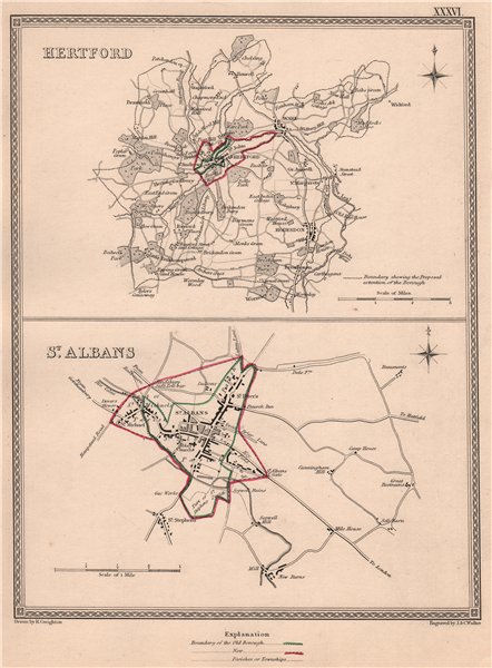 Associate Product HERTFORDSHIRE TOWNS. Hertford St Albans borough plans.CREIGHTON/WALKER 1835 map