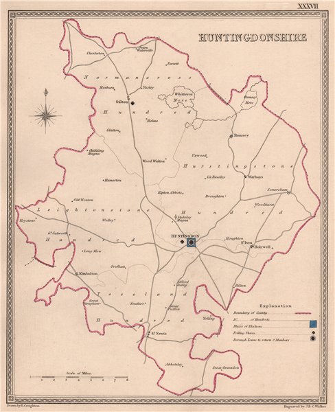 Associate Product HUNTINGDONSHIRE antique county map by CREIGHTON/WALKER. Electoral 1835 old