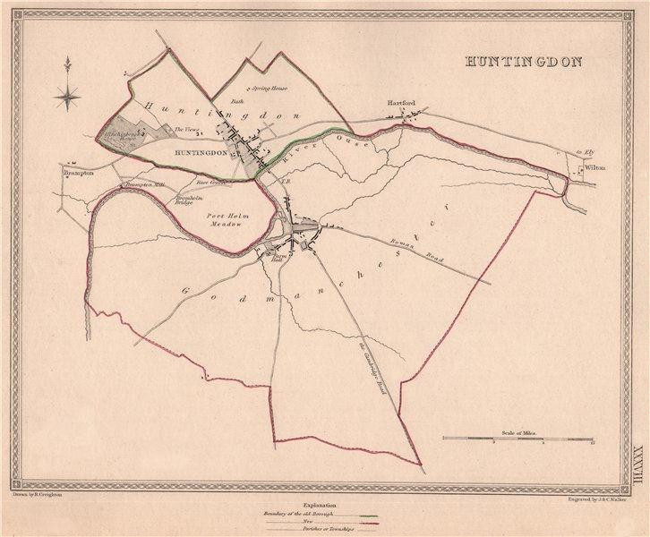Associate Product HUNTINGDON town & borough plan. Huntingdonshire. CREIGHTON/WALKER 1835 old map