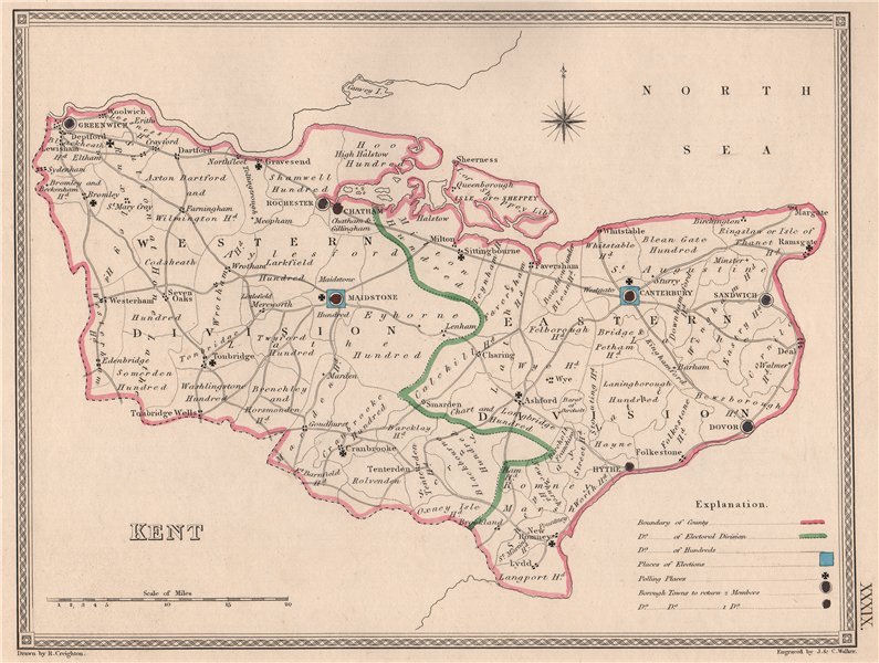 Associate Product KENT antique county map by CREIGHTON/WALKER. Electoral 1835 old