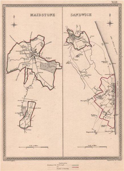 Associate Product KENT TOWNS. Maidstone Sandwich Deal borough plans. CREIGHTON/WALKER 1835 map