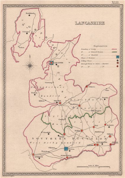 Associate Product LANCASHIRE antique county map by CREIGHTON/WALKER. Electoral 1835 old