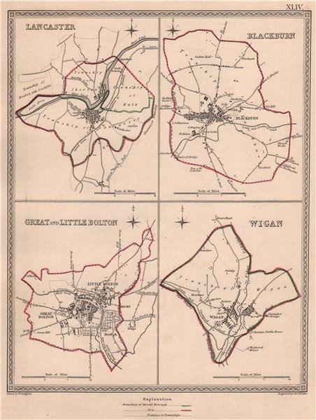 Associate Product LANCASHIRE TOWNS.Lancaster Blackburn Bolton Wigan.CREIGHTON/WALKER 1835 map