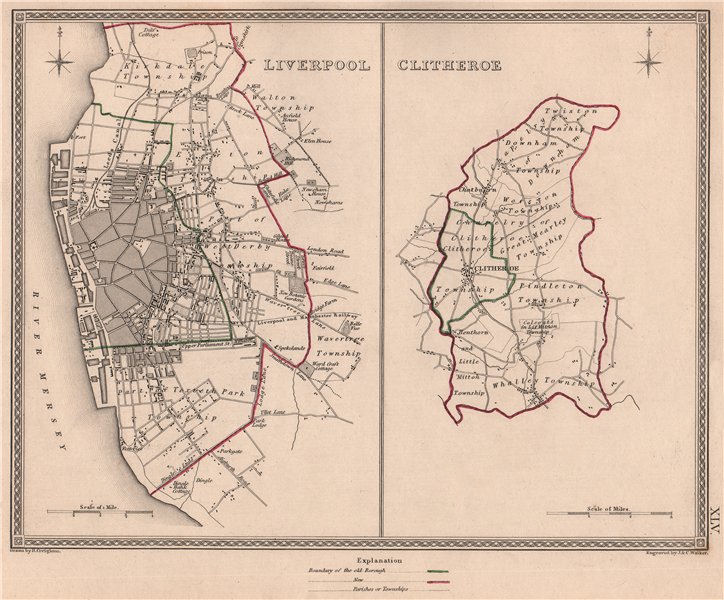 Associate Product LIVERPOOL & Clitheroe borough town plans. Lancashire. CREIGHTON/WALKER 1835 map